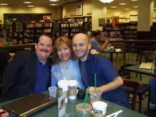 James L Paris and Patrick & Anna Dejean having Starbucks coffee at Barnes & Noble in Costa Mesa, California