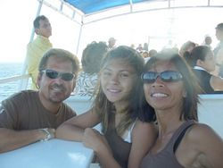 Steve Barrow with his wife & daughter on a Dinner Cruise in Cabo San Lucas, Mexico - Business from home work